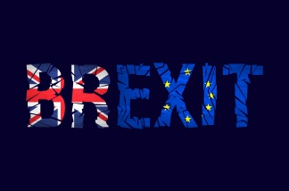 Brexit cracks Text Isolated. United Kingdom exit from europe relative image. Brexit named politic process. Referendum theme