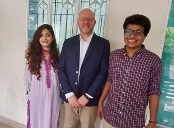 Mohammad Taqi Yasir and Tahsin Kamal Tonima pictured with the Director